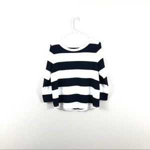 COS Navy White Striped 3/4 Sleeve Cotton Top